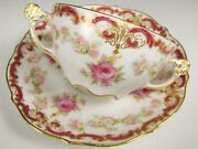 Lovely Limoges Big Roses With Gold Bouillon Cup And Saucer Fancy Handles