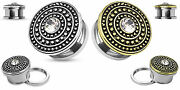 Pair Gold Or Silver Gem Centered Shield Top Steel Screw Fit Flesh Tunnels Plugs