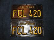 Vtg California 420 License Plates Plate Pairs 1963 Og Yesca Dmv Clear Low Rider