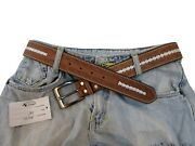 Brown Floral Tooled Thick Leather Mens Women Belt White Stitched Carry Gun Belts