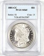 Official Pcgs Graded Ms 65 1881-cc 1 United States Morgan Silver Dollar