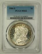 1886-s Us Morgan Silver Dollar Coin 1 Pcgs Ms-62 Toned 18