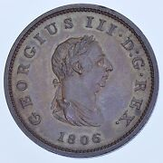 Rare 1806 Bronzed Proof Halfpenny British Coin From George Iii Afdc