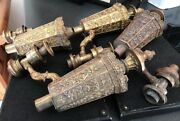 Antique French Victorian Ornate Gilt Oil Argand Ormulu Lamp Parts Burners X 4