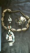 Antique Zuni Turquoise And Silver Necklace Bracelet And Ring Set
