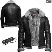 Menand039s Black A2 Bomber Aviator Collar Genuine Leather Jacket Artificial Fur New