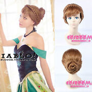Frozen Anna Styled Coronation Cosplay Wig Hand Made Full Hair Cos Wig