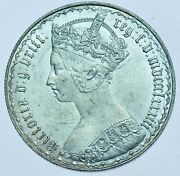 1883 Gothic Florin British Silver Coin From Victoria Unc
