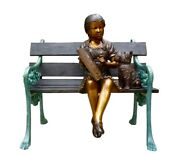Girl Reading A Book On Bench Bronze Statue Sculpture Size30 - 39 -38.5 New