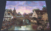 The Mill Pond Covered Bridge Scottish Town Grande Tapestry Wall Hanging