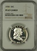 1958 Us Franklin Silver Half Dollar 50c Coin Ngc Pf-67 Cameo Better Coin