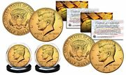 2018 24k Gold Clad Jfk Kennedy Half Dollars 2-coin Set Pandd Mint W/coa And Holders
