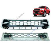 Silver Front Bumper Vent Hood Grille Grill With Led Lamp For Toyota Hilux 15-17