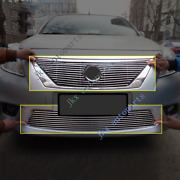Chrome Abs Front Bumper Upper+lower Grille Grill Trim For Nissan Versa 2011-13
