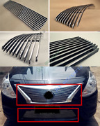 Chrome Abs Front Bumper Upper+lower Grille Grill Trim For Nissan Versa 2014-18