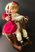 Vintage Telco Animated Girl On Rocking Horse W/tags Rare