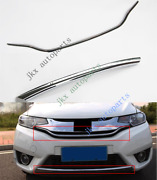 2pcs Silver Front Bumper Upper+lower Grille Grill Trim For Honda Fit/jazz 14-17