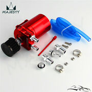 Cylinder Aluminum Engine Oil Catch Reservoir Breather Tank Can W/ Filter Red