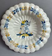 Rare Antique Nevers France Faience 17th Century Lobbed Bowl Putti And Pan Flute