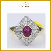 Estate Vintage Ruby Ring 18k Yellow White Gold Size 6.5 Ruby Cocktail Ring  Md