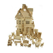3d House Puzzle Diy Toy Gothic Dolls Wooden Scale Models Play Doll House