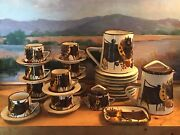 Vintage Weiningen Swiss Art Pottery Dinnerware Cows Cowbell Country Dairy 32pc