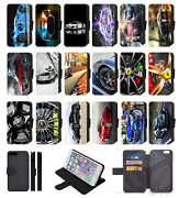 Sports Car Wheels Flip Phone Case Wallet Cover Galaxy S7 S8 S9 S10 S20 Plus