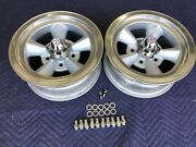 Vintage Pair Real M/t 5 Spoke Torque Thrust Polished Lip 14x6 4 3/4 Chevy