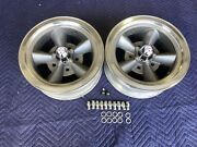 Vintage Pair 5 Spoke Torque Thrust Style Polished Lip 14x6 4 3/4 Chevy