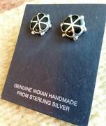 Zuni Inlay Onyx Flower Silver Post Earrings Native American Collectible Usa