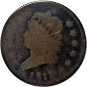 1811 1 Over 0 1c Classic Head Large Cent - Overdate Is Rarest In Series