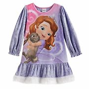 Disney Sofia The First And Clover Satin, Velour Nightgown, Size 4t