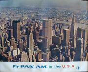 Pan Am Airlines Usa New York Vintage 1965 Travel Poster 34.5x44 Very Rare