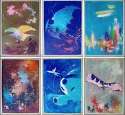 Sas Airlines History Of Aviation Vintage Set X6 Travel Posters Otto Nielsen 1959