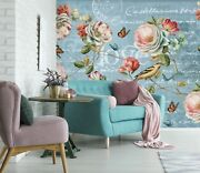 3d Rose Butterfly Blue 44 Wall Paper Wall Print Decal Wall Deco Indoor Murals