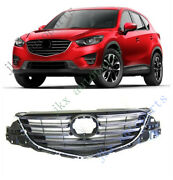 Abs Chrome Front Bumper Middle Center Grille Grill Vent Hood For Mazda Cx5 13-16