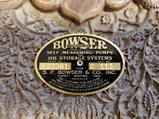 Bowser Gas Pump Data Plate Custom Made Acid Etched Brass