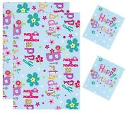2 Sheets Gift Wrapping Paper With 2 Tags 50cm X 70cm Blue Floral Birthday D25