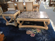 Beautiful Large Ornate Carved Coffee And End Table Set. Marble Style Tops