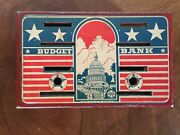 Steel Toy Budget Bank Box By Louis Marx Co. Original Litho 1940s