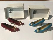 Limoges Miniature High Heel Shoes Ysl With Gold Bows From Eze France