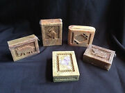 Hand Carved Soapstone From India Trinket Box 5 Varieties 4 X 3 Boxes