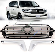 For Toyota Land Cruiser Lc200 Fj200 4000 16-19 3pcs Front Grille+light Brow