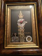 Big Ben Framed Picture Clock Steam Punk Look Wood Gears And Metal John Nash Style