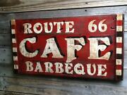Route 66 Cafe Barbeque - Hand Painted Resturant Bbq Sign