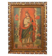 Magnificent 18th Century Oil On Canvas Spanish Colonial Virgin - Our Lady