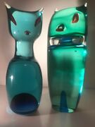 Cenedese Surmerso Murano Glass Figures Signed And Dated, Berto Tosi, 1966