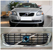 Chrome Vent Hood Front Bumper Middle Grille Grill Fit For Volvo S40 V50 08-12