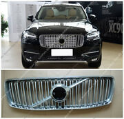 Chrome Abs Front Bumper Grille Grill Vent Hole Trim For Volvo Xc90 15-18