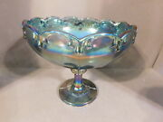 Indiana Glass Blue Carnival Glass Garland Teardrop Round Pedestal Compote Bowl